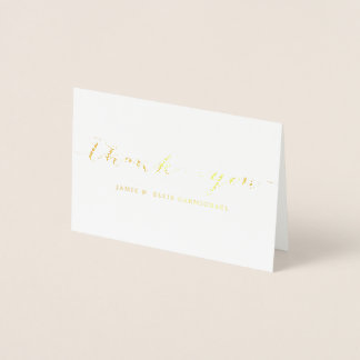 Simple Gold Thank You Notecard 箔カード