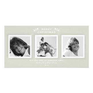 Simple Modern Warm Gray 3 Photo Merry Christmas カード