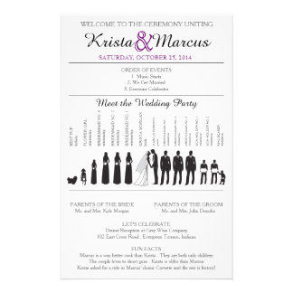 Simple Silhouettes Wedding Program Flyer チラシ