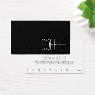 Simple Stymie Word Dark Loyalty Coffee Punch-Card 名刺
