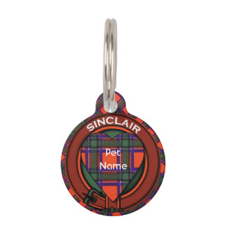 Sinclairの一族の格子縞のスコットランド人のタータンチェック ペット ネームタグ