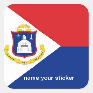Sint Maartenセントマーチンの旗のステッカー スクエアシール