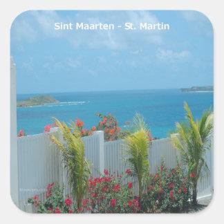 Sint Maarten -セントマーチンのオーシャンブルーの海景 スクエアシール