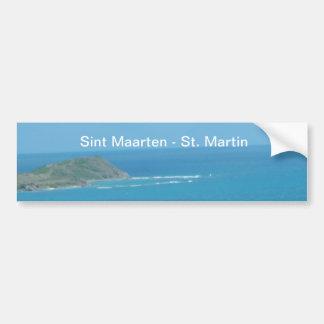 Sint Maarten -セントマーチンのオーシャンブルーの海景 バンパーステッカー