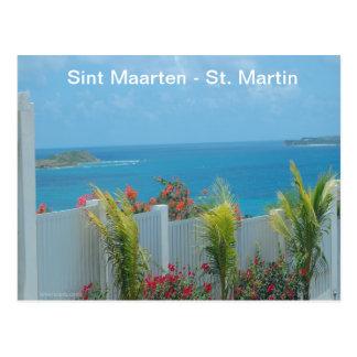 Sint Maarten -セントマーチンのオーシャンブルーの海景 ポストカード