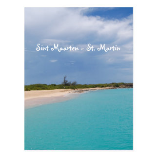 Sint Maarten -セントマーチンのビーチ場面 ポストカード