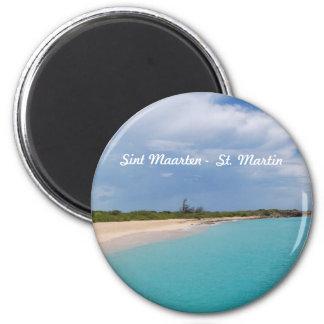 Sint Maarten -セントマーチンのビーチ場面 マグネット