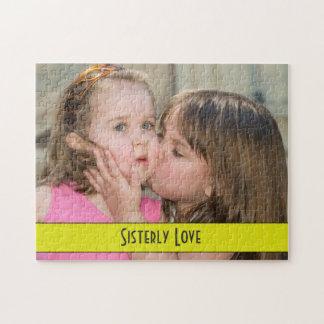 Sisterly愛-彼女の姉妹のパズルに接吻している姉妹 ジグソーパズル