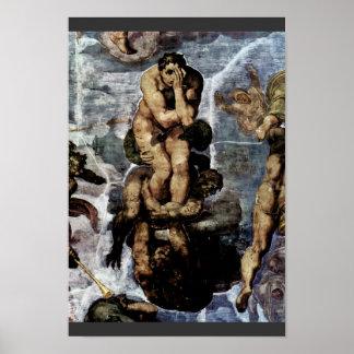 Sistiの祭壇の壁の世界終末のフレスコ画 ポスター