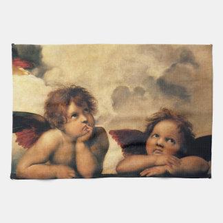 SistineマドンナのRaphaelによる天使の詳細 キッチンタオル