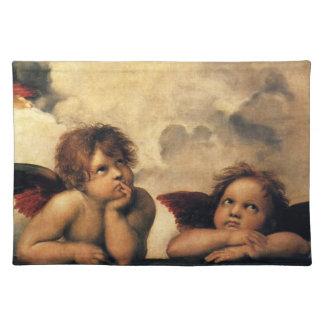 SistineマドンナのRaphaelによる天使の詳細 ランチョンマット