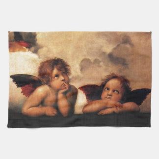 SistineマドンナRaphaelによる2つの天使 キッチンタオル