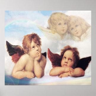 SistineマドンナRaphaelによる2つの天使 ポスター