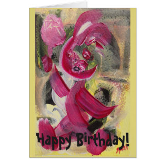 Sitting Baby Hand-Painted Happy Birthday Cards カード
