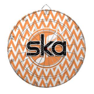 Ska; オレンジおよび白いシェブロン ダーツボード