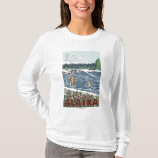 Skagway、アラスカ-はえの漁師 Tシャツ