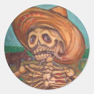 skeletoの詐欺のアコーディオンyのburro ラウンドシール