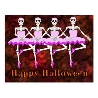 """Skeletons Dancing Ballet """"Happy Halloween"""" ポストカード"""
