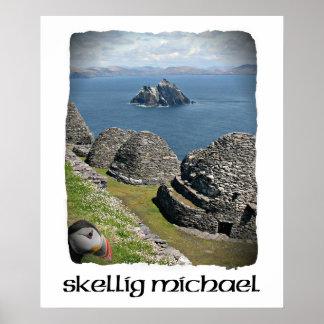 Skelligミハエル、ケリー、アイルランドのツノメドリ、ポスター ポスター