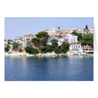 Skiathosの島、ギリシャの空白のなメッセージカード カード