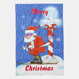 Skiing Santa Christmas Kitchen Towel キッチンタオル