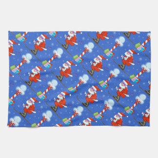 Skiing Santas Christmas Kitchen Towel キッチンタオル