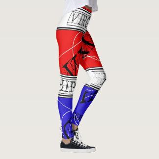 SKILLHAUSE-OLヴァージニアのお尻HOP-RED、白、及び青 レギンス