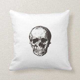 Skull drawing cushion double sided white pillow クッション