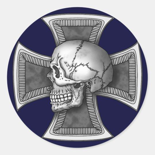 Skull iron-cross ラウンドシール