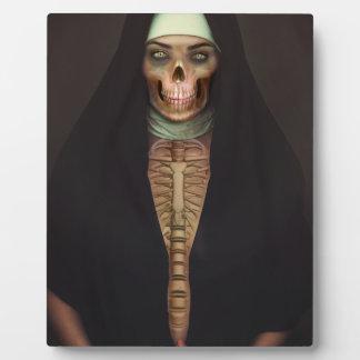 Skull Skeletonクリープの恐怖尼僧の女性 フォトプラーク