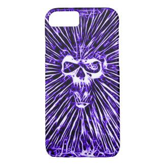 Skullyのスカルのインディゴの地獄のフラクタルの芸術 iPhone 8/7ケース