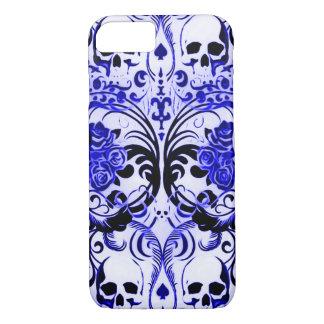 Skullyのスカルのトランプのポーカーの青 iPhone 8/7ケース