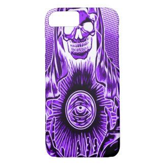 Skullyのスカルのレトロのインディゴの死 iPhone 8/7ケース