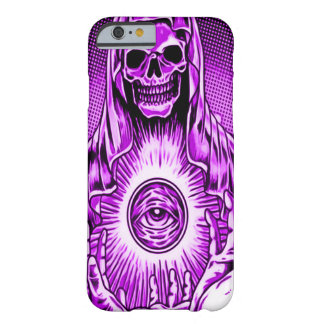 Skullyのスカルの邪悪な紫色の目 Barely There iPhone 6 ケース