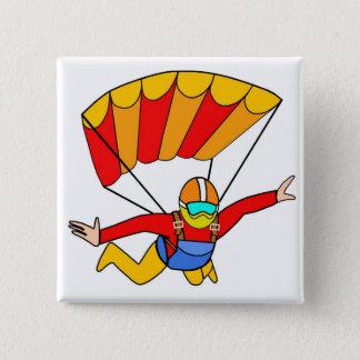Skydive赤いYelloのパラシュート 5.1cm 正方形バッジ