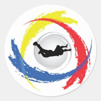 Skydivingの三色の紋章 ラウンドシール