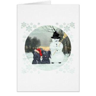 Skyeのテリアおよび雪だるま カード