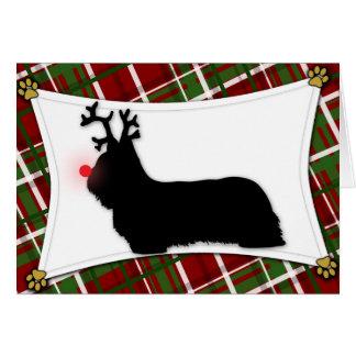Skyeテリアのトナカイのクリスマスカード グリーティングカード