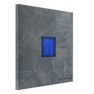 Slate Gray Cobalt Blue Modern Art With Signature キャンバスプリント