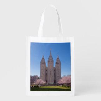 SLCの寺院のピンクの写真が付いているエコバッグ エコバッグ