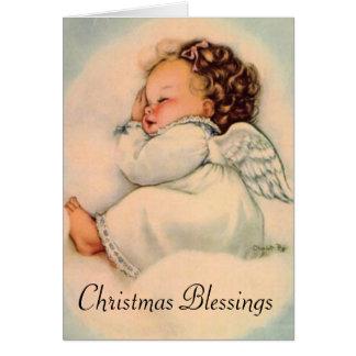 Sleeping Baby Angel Christmas カード