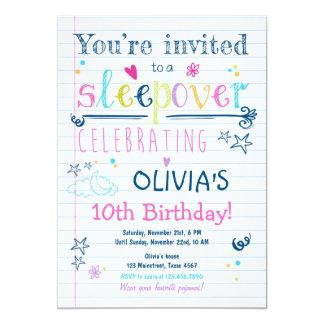 Sleepoverの招待状のスランバー・パーティーのパジャマの女の子 カード
