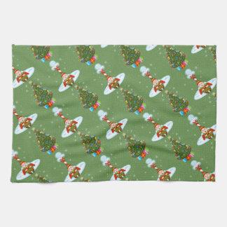 Sleepy Elves Christmas Kitchen Towel キッチンタオル