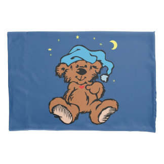 Sleepy Time Teddy Bear Blue Night Cap 枕カバー