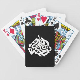 Sleipnirのポーカーカードに乗る白いOdin バイスクルトランプ
