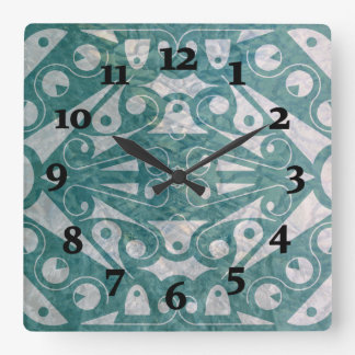 Slipperywindow著アールデコのスカンジナビアの緑 スクエア壁時計