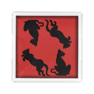 Slipperywindow著赤のよくはしゃぐな猫の黒 アクリルトレー