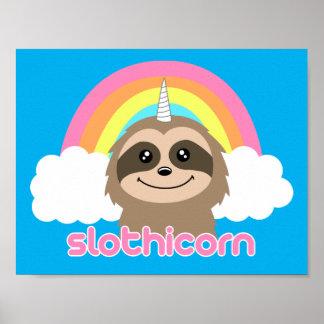 Slothicornのユニコーンの怠惰のかわいいポスター ポスター