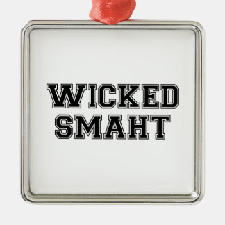 (Smahtの)悪賢く頭が切れるな大学ボストン シルバーカラー正方形オーナメント