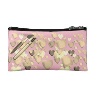 Small Cosmetic Bag-Gold on pink designed コスメティックバッグ